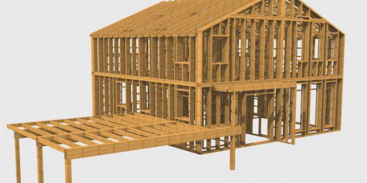 Holzständerbau mit Massivholzplatte